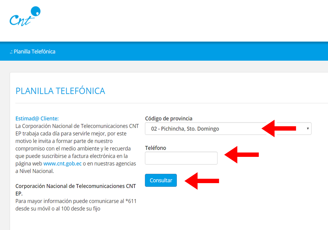 Pasos para consultar la planilla telefonica CNT 1